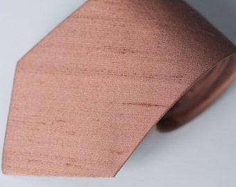 Rose Gold Tie - Raw Silk Ties - Rose Gold Wedding Neck Ties - Blush Tie - Rosewood Ties - Groomsmen Ties - True Rose Gold - Limited Edition