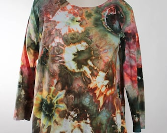 Asymmetric Tunic, Long Sleeve, Cotton, Ice Dyed Tie Dyed, Crumple, Peach And Green,  MADE TO ORDER
