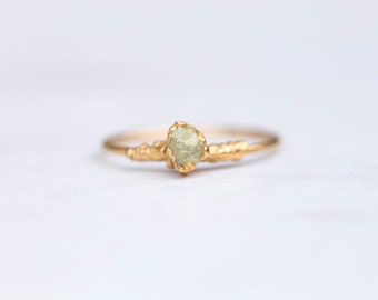 Raw Yellow Diamond Ring, Gold Ring, Raw Diamond Stacking Rings, Dainty Ring, Delicate Ring, Stone Ring, Raw Crystal Ring, April Birthstone