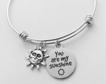 Silver Bangle Bracelet, You are my Sunshine