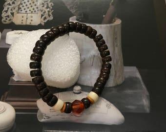 Handmade Tibetan Lampwork & Natural Coconut Shell Beads Bracelet