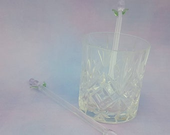 Glass cocktail stirrer, thistle drink stirrer, cocktail mixer, swizzle stick, stir rod, scottish gift, decorative barware, whiskey accessory