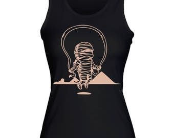 Mummy Rope Jump Over Own Bandage Egypt Pyramids in Background Women's Tank  Top Shirt