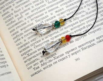 Book lover gift Beaded bookmark for book Notebook Bookmark Crystal bookmark Teacher gift Thong bookmark gift for librarian gift for reader
