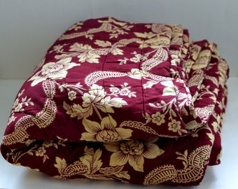 French antique 19th bed cover quilted floral Eiderdown