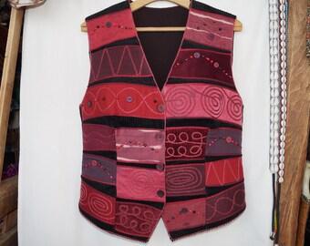 Maroon waistcoat, emroidered waistcoat, bohemian waistcoat, festival waistcoat, hungarian folk waistcoat, hippie waistcoat, boho waistcoat