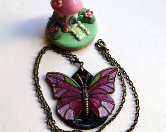 Drop pendant necklace handcrafted wood Butterfly shades of pink / gift idea for woman