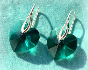 Swarovski Green Emerald Heart Shape Earrings Bridesmaid Gift Swarovski wedding jewelry