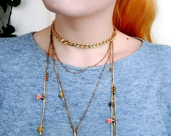 Choker Lariat Necklace, Beaded Lariat Necklace, Boho Chain Choker Necklace, Y Statement Necklace