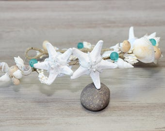 Beach Wedding Hair Accessories Seashells Headband Mermaid Crown Starfish Bridal Headpiece beach bride Destination Wedding Head wreath tiara