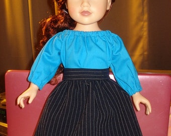 SALE - Blue Peasant blouse and pin striped skirt set for 18 inch Dolls - ag82