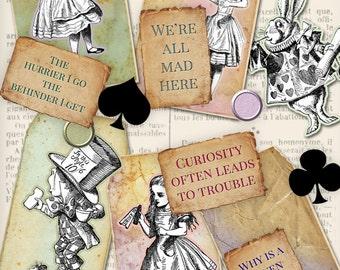 Make Your Own (MYO) Alice in Wonderland Tags paper crafting scrapbooking diy craft art instant download digital collage sheet - VDTAAL1145