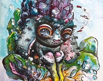 8x10 Printable wall art - Cute bunny art print - Watercolor print Surreal art poster Trippy Fantasy art animals print
