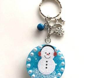 Snowman resin, pendant, Christmas pendant, key ring, Taschenbaumler