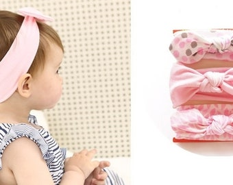 Set of baby girl headband, shaped bow tie, 3 colors newborn to 24 months
