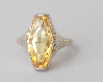 Art Deco Platinum Sapphire Ring. Bird in Flight. Yellow Synthetic Sapphire. White Gold Shank. Size 5.75