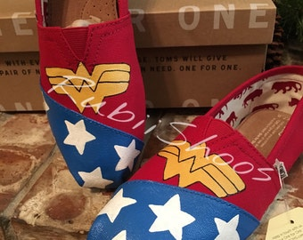 Wonder Woman Toms- Red Shoes- Super hero -  Slip Ons- Stars- Red Toms- Justice League- Gift- Girl Power-