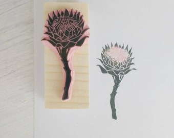Protea print, flower rubber stamp, wedding decor, floral diy, protea wedding, thistle stamp,