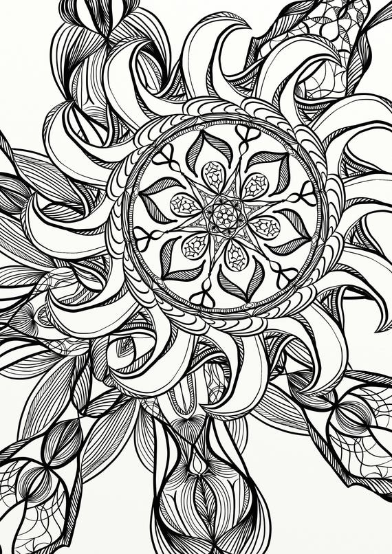 Mandala Spiral Relaxing Adult Coloring Page