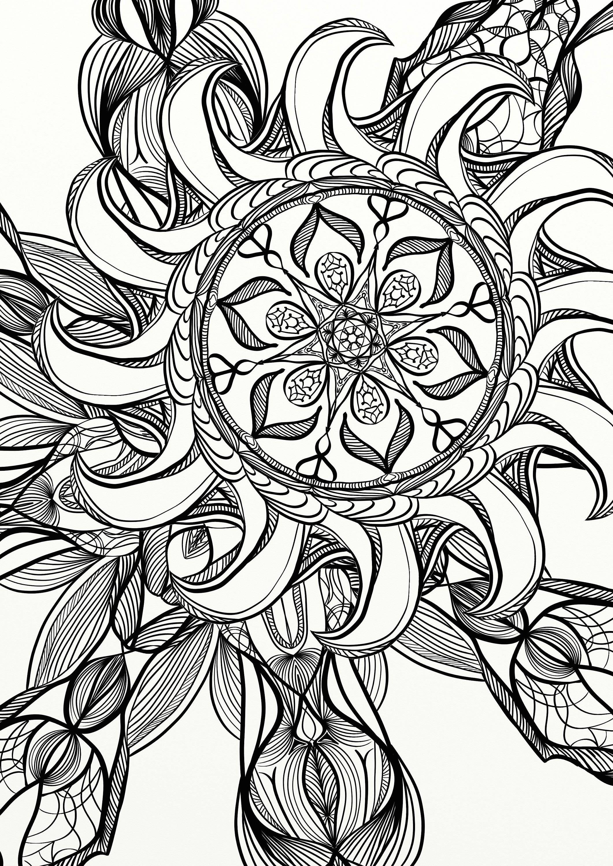 Mandala-Spirale entspannen Erwachsene Malvorlagen