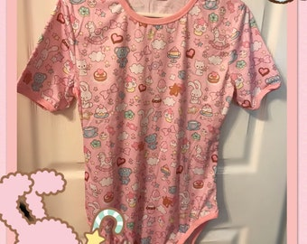 Kawaii Adult Onesie, kawaii, abdl, adult baby, bodysuit, ddlg, little, petplay, cat shirt, cat, kitten, age play, age regression,