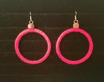 Crochet Hoop Earrings - Red