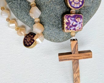 Anglican Prayer Beads - Charming Purple and Crystal with Cross of Bethlehem Wood