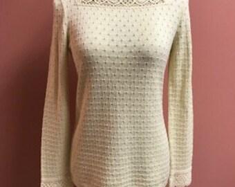 Lillie Rubin Vintage Cream Colored Knit Sweater