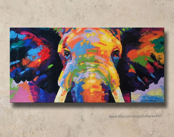 4080 cm colorful elephant paintings wall decor. Black Bedroom Furniture Sets. Home Design Ideas