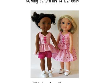 "Summer sun separates PDF sewing pattern fits 14 1/2"" dolls"
