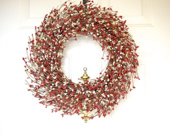 Red Holiday Wreath  - Christmas decor - Pip berry wreath - font door wreath - year round wreath - grapevine