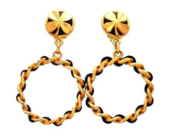 Authentic vintage Chanel earrings clover round clip chain hoop dangled #ea2047