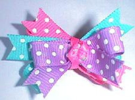 Puppy bows ~ dottie fun bow pet hair accessories purple
