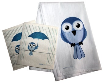 Swedish Dishcloth/Floursack Towel  2 each Bluebird in Rain Swedish Dishcloths with 28x29 100% Cotton Floursack Kitchen Towel