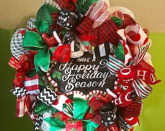 Christmas Wreath, Happy Holidays Wreath, Holiday Wreath,