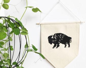 Small Canvas Banner - Mini Bison Print - Buffalo Print - Wall Banner