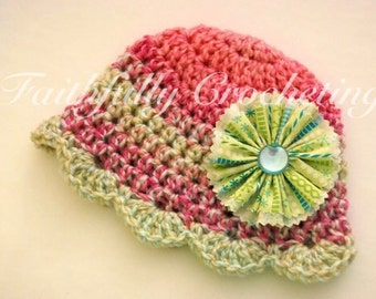 Newborn Crocheted hat with removable flower hair clip.... Photography Prop... READY to ship