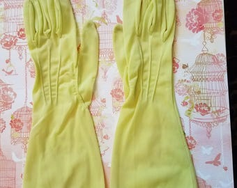 Vintage Ladies' Gloves (#13) Small Size Bright Yellow Nylon, Longer Length
