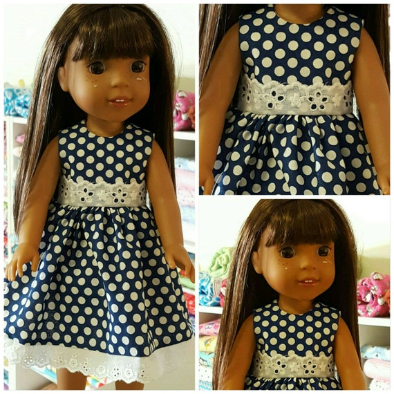 Navy Blue Polka Dots with Eyelet Lace Wellie Dress to fit Wellie Wisher Doll and Disney Toddler Doll