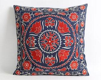Hand embroidery suzani pillow cover 18x18 blue, red floral pillow