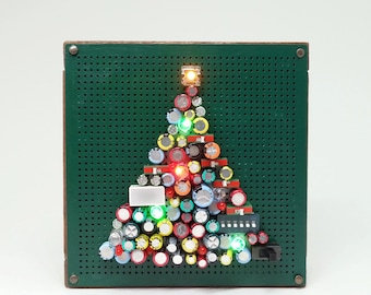 Unique Christmas Tree Art, Christmas Decoration, Holiday Gift, Christmas Tree, Electronic Components Art