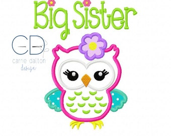 Owl Applique Design, Owl Embroidery Design, Big Sister Embroidery Design, Big Sister Applique Design, Big Sister Owl Applique