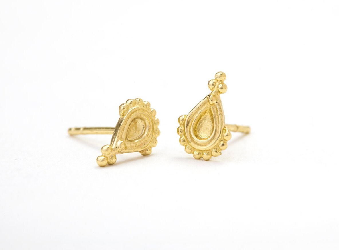 Gold Earrings Yellow Gold Studs Solid Gold Posts Tribal