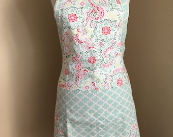 Retro Cooking Apron with Pockets, Pink, Green, Yellow, ready to ship!