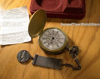 Serviced, 1976 WESTCLOX Kentuckian Mechanical winding Pocket Watch, Gold Color Toned Hunter Watch Case w/ FOB, Orig Watch Box, made in USA