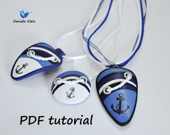 "Polymer clay PDF tutorial ""Navy pendant"""