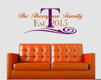 Personalized  FAMILY NAME And ESTABLISHED Date With Scroll vinyl wall art sticker decal home decor