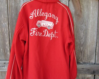 40s NY Firemen Varsity Jacket for Allegany Fire Dept, Men's L // Butwin Coat // Vintage Red Wool Letterman Jacket