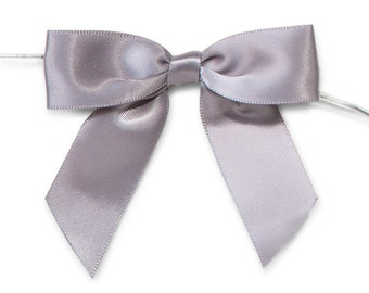 "Silver Grey 3"" Pre-Tied Satin Bows with 5"" Twist Ties~ 7/8"" ribbon- Pack of 6"