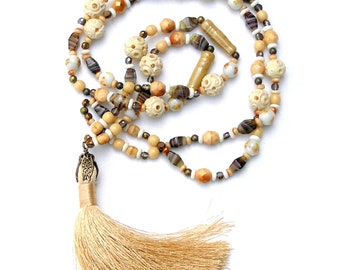 Tassel Necklace, Tan, Gold, Brown, Antique Beads, Vintage Beads, Neutral Colors